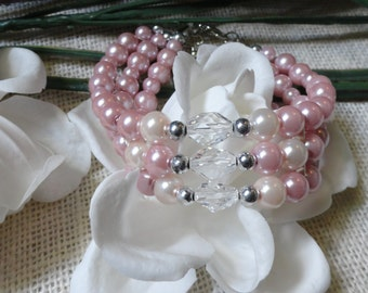 Pink and cream glass  pearl bracelet