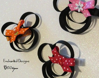 Minnie Mouse Inspired Hair Accessories (Set Of Three) Red, Pink, Orange,
