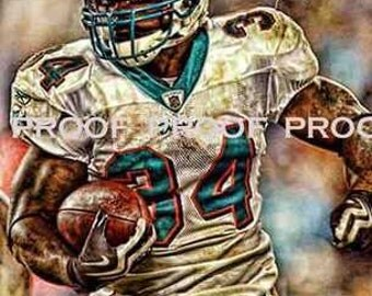 Rare Ricky Williams Miami Dolphins Art Prt sn only 50