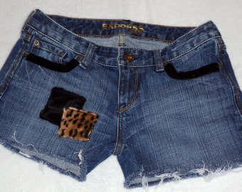 Denim Shorts - Low Rise - Recycled Clothing - Size 3 - SALE