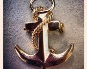 Gold nautical anchor upcycled brooch/pin (with free handmade pin cushion)