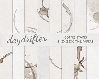 Coffee Stains Tea Dyed Digital Paper - Instant Download Digi Scrapbooking Kit