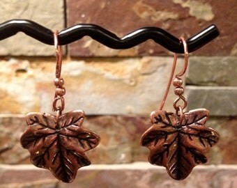 Small Antiqued Copper Leaf Earrings