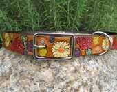 Leather Tooled Hand Painted Collar - Colorful Flowers 1 inch wide - luxurious dog collar