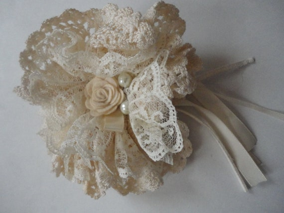 Crochet Lace Mori Girl Flower Brooch Pin Clip