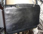 Unique Vintage Faigen Black  Leather Messenger Bag