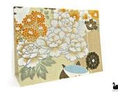Custom greeting card Japanese orange vintage floral kimono Swarovski Crystal Fabric and paper blank card