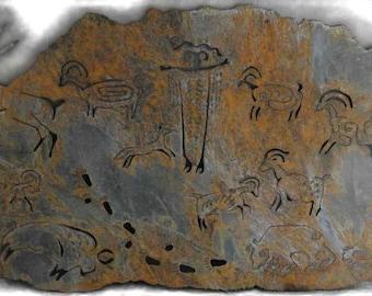 Petroglyph panel - rustic sheet metal art made-to-order