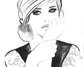 Print from Original Watercolor Fashion Illustration Modern Art Painting Black and White titled Let My Dreams Come True