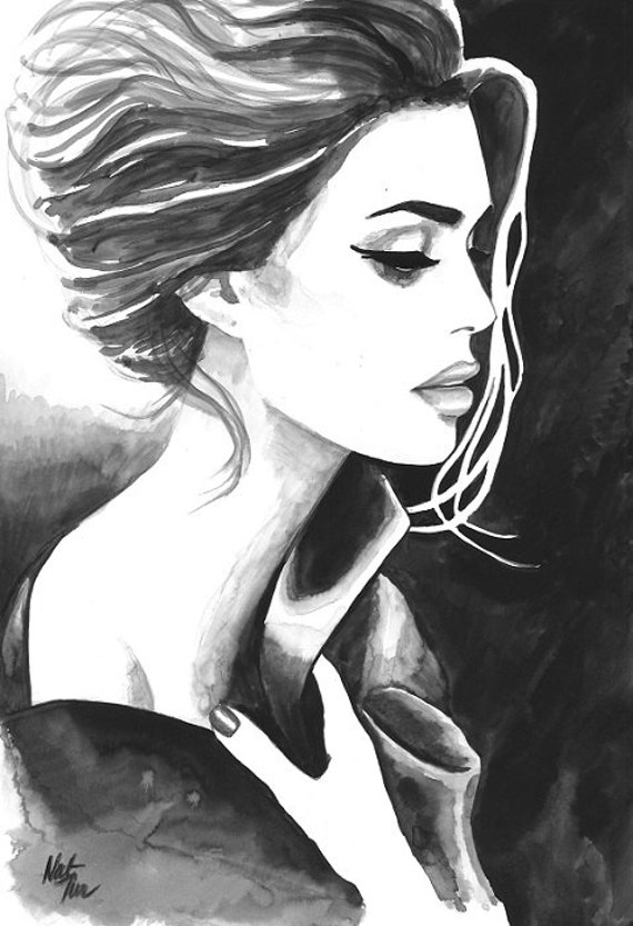 Print From Original Watercolor Illustration Woman Art By