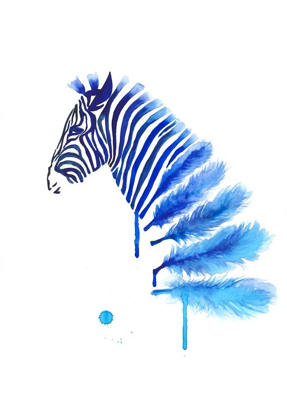 Blue zebra art print a3 large wall art home decor by mysoulfly for Modern art home decor etsy