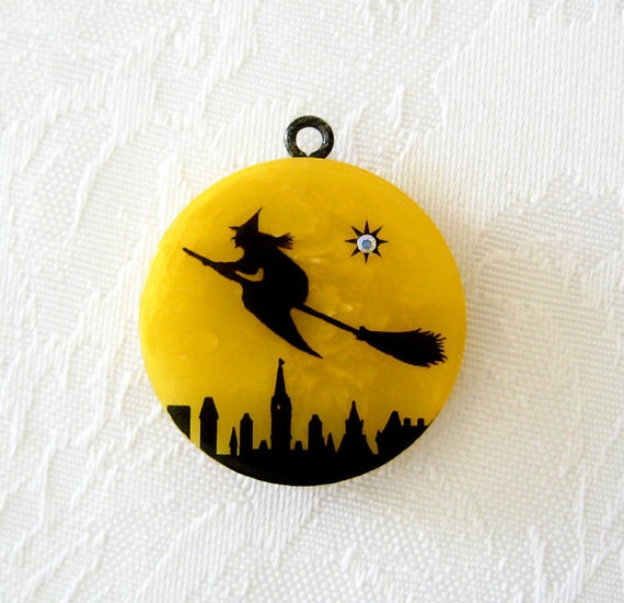 Vintage Bakelite Witch on a Broom Halloween Charm Newly Crafted