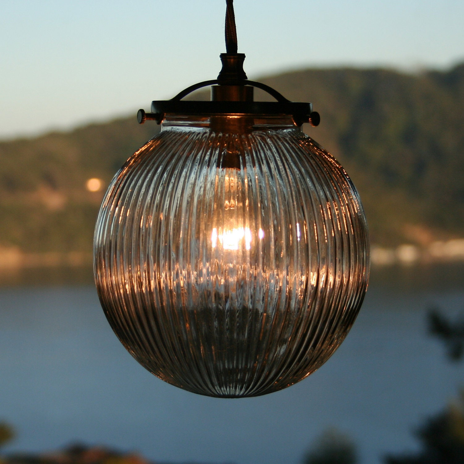 Ribbed Glass Globe Pendant Light Steampunk Victorian Art