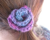 Fiber Flora - Midnight Rose (hand crocheted small rosebud hair clip)