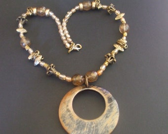 Bold bronze and gold necklace