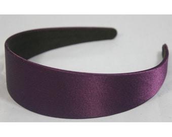 "3 pcs of 40mm (1 1/2"") Plastic Headbands Purple Satin Covered - 3pcs Hair Accessories Wholesale Lots Annielov"