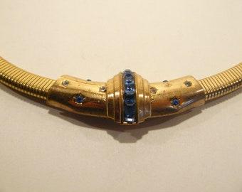 1947 Coro Sapphire Blue Rhinestone Necklace Adolf Katz