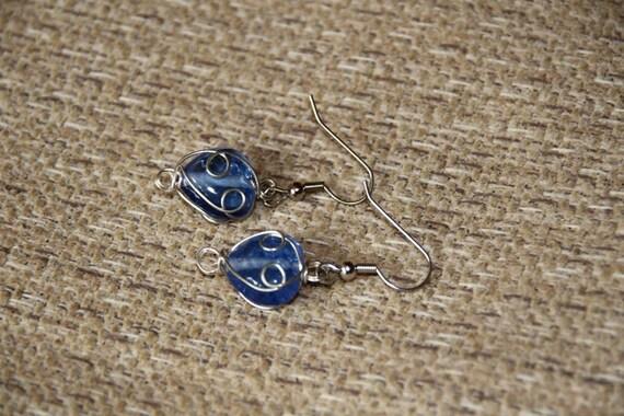 Blue, Heart Shaped, Wire-Wrapped Earrings
