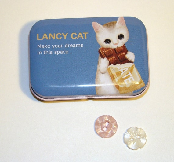 Party Favor Tin Cute Cat Blue Chocolate Candy Bar Storage Box