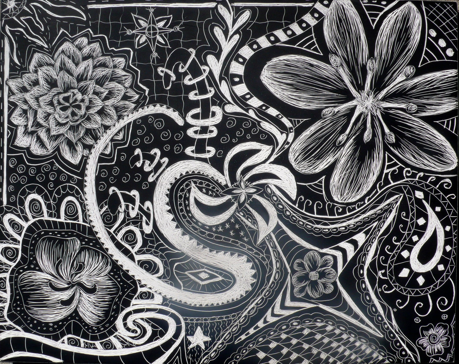 Items similar to Flower Abstract Zentangle Doodle on Scratchboard on Etsy