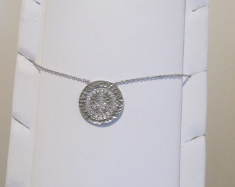 Silver chain necklace with peace and love charm
