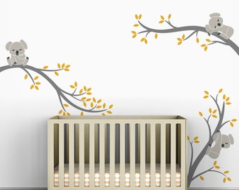Kids Wall Decals Yellow Gray Wall Sticker Tree Baby Room Decor - Koala Tree Branches by LittleLion Studio