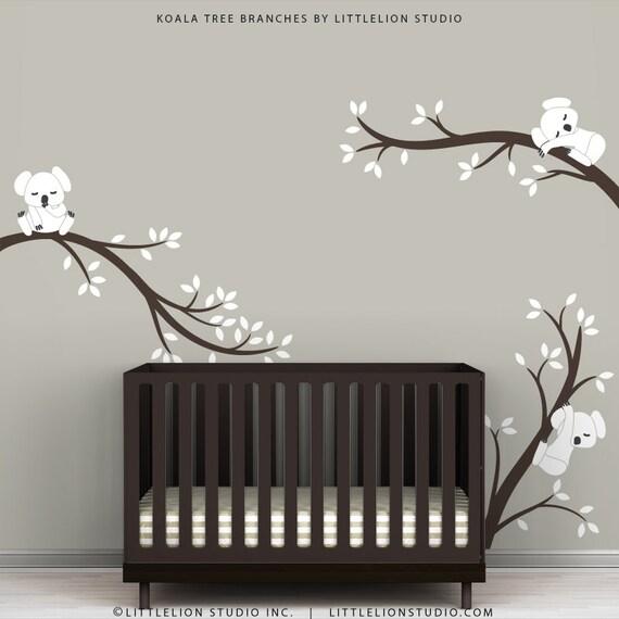 baby nursery wall decal white and dark brown koala tree. Black Bedroom Furniture Sets. Home Design Ideas