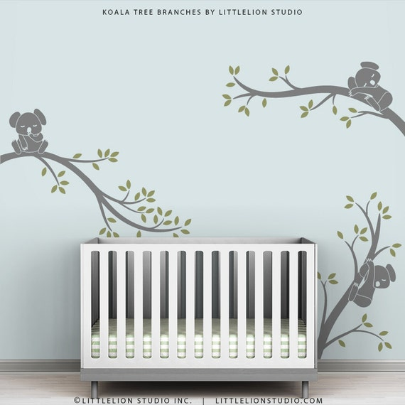 Gray Tree Wall Decal Baby Kids Room Decor Wall Tree Decals - Koala Tree Branches by LittleLion Studio