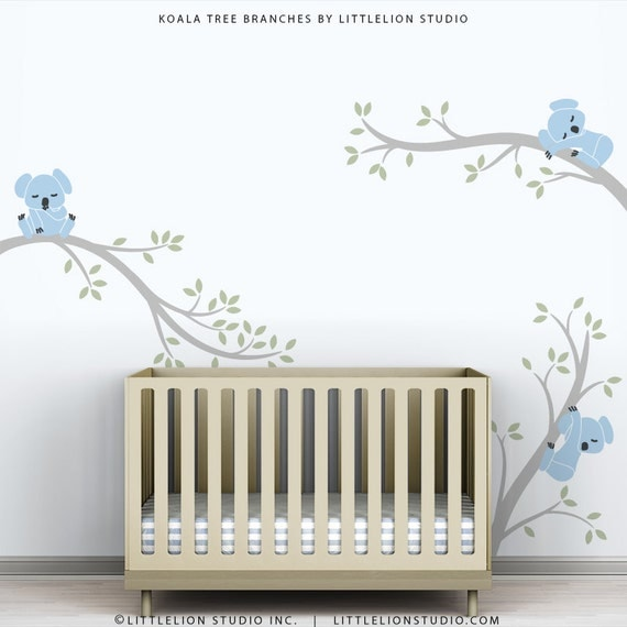 Baby wall decals blue boys room decor tree sticker new baby for Room decor etsy