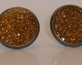 Gold Amber Glitter 10mm Post Earrings