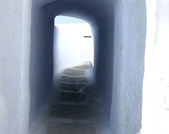 Greece Photography - Tunnel - Santorini - Wall Decor - Mediterranean Fine Art Print