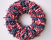 Americana patriotic fabric wreath, USA Olympics decor, red white blue wall / door hanging, military decoration - LadyPembrokeCrafts