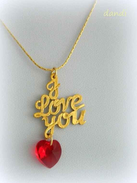 i love you necklace with heart red from svarovski - Free Shipping