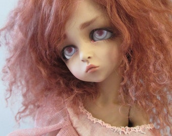 BJD mohair wig - Chestnut brown - 6/7""