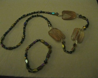 GOLD STREAKED STONES With Iridescent Acrylic Beaded Handmade Necklace and Bracelet.