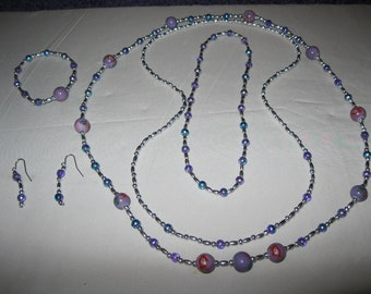 2 NECKLACES, One CHOCKER, BRACELET and Pierced Earrings in this One of a Kind Jewelry Set.