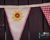 Summer Fabric Bunting Banner (Celebrate in Red) - Mix and match removable button-on felt  yellow and orange suns onto flags and pennants