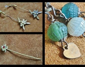 CLEARANCE SALE Vintage Jewelry Pins Broochs, Destash Lot of 4