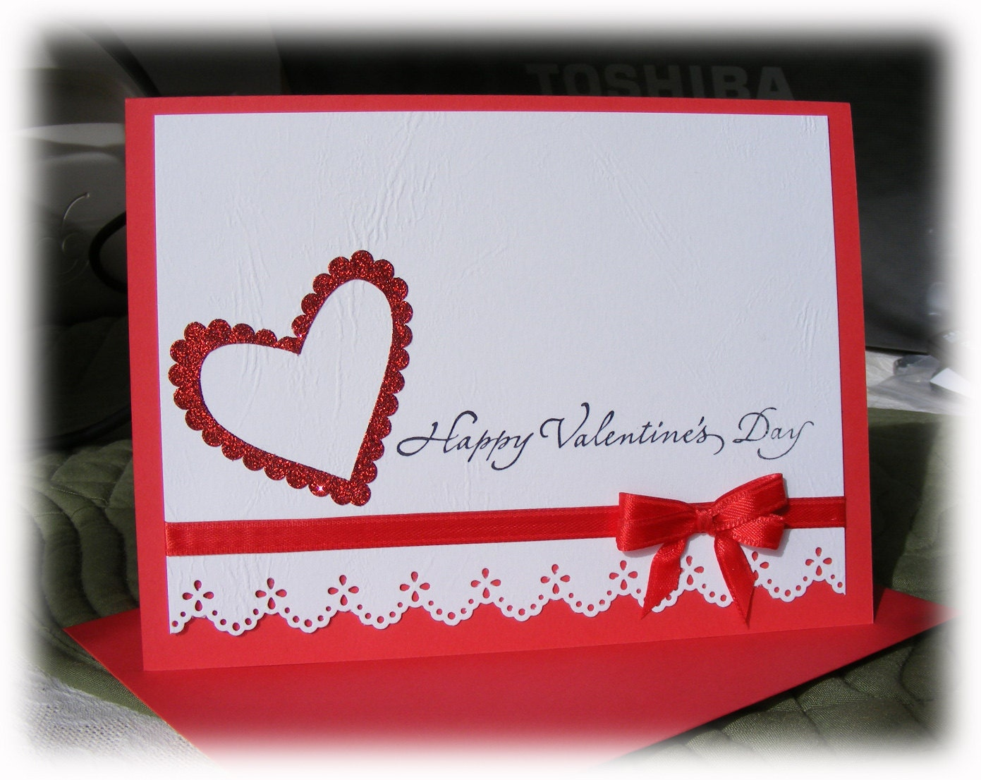 Elegant Handmade Valentines Day Greeting Card with – Hand Made Valentine Cards