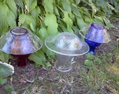 Garden Yard Mushrooms Set of 3 Red White and Blue Repurposed Upcycled Tori Free Shipping