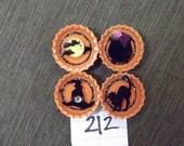 Halloween handmade bottle cap magnets set of 4 Calderon Witch Hat Black Cat Moon