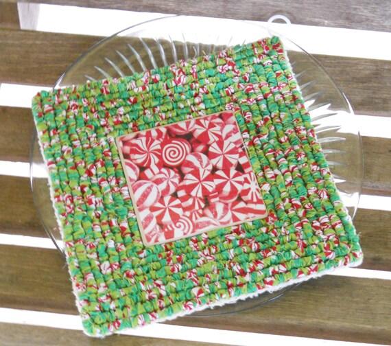 Christmas Candy Tile Trivet Locker Hooked Locker Hooking