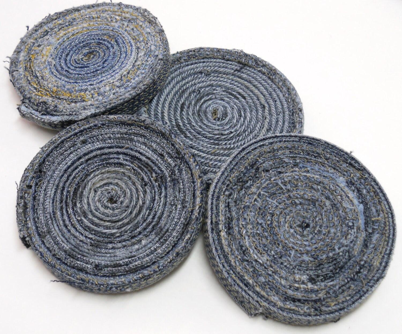 Upcycled Denim Spiral Coaster Blue Jean Coaster Mug Rug