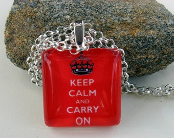 KEEP CALM and Carry On Classic Glass Tile Necklace