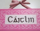 Personalize Baby Name Plaque in English, Greek or Irish with coordinating ethnic background