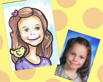 Custom Caricature Portrait ACEO Original Watercolor Painting Art Card by Jamie Jay