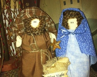 Primitive Nativity Set Joseph, Mary and Baby Jesus, Handmade Fabric Nativity