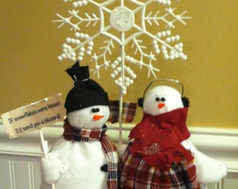 Country Snowcouple Doll Decoration with Snowflake