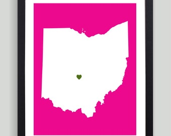 My Heart Resides In Ohio Art Print - Any City, Town, Country or State Map Customized Silhouette Gift