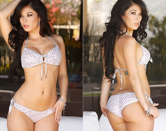 Beautiful White Sequined Meshed 2 PC Bikini